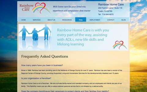 Screenshot of FAQ Page rainbowhomecare.com - Frequently Asked Questions - captured Nov. 12, 2017