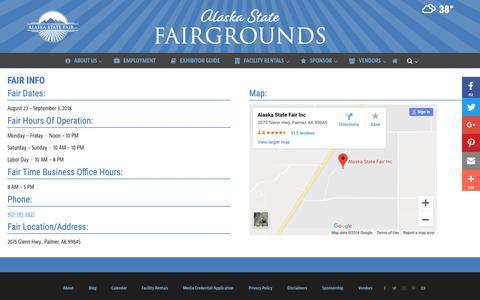 Screenshot of Hours Page alaskastatefair.org - Fair Info | Alaska State Fair - captured Nov. 12, 2018