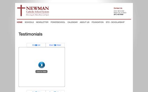 Screenshot of Testimonials Page newmancatholic.org - Newman Catholic - Home - captured March 12, 2016