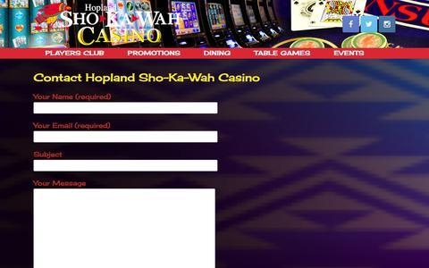 Screenshot of Contact Page shokawah.com - Contact Hopland Sho-Ka-Wah Casino - captured Jan. 1, 2016