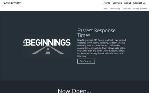 Screenshot of Home Page newbeginningscts.com - New Beginnings | Crime Scene & Hoarding Clean Up - captured Feb. 26, 2016