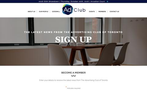 Screenshot of Signup Page adclub.ca - Sign Up | The Advertising Club of Toronto - captured Sept. 24, 2016