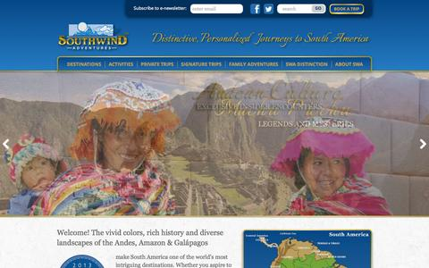 Screenshot of Home Page southwindadventures.com - South America Adventures | Family Travel and Small Group Tours - captured Oct. 7, 2014