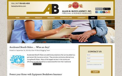 Screenshot of Press Page ambins.com - Allan M Block Agency official Blog News - captured Oct. 4, 2014