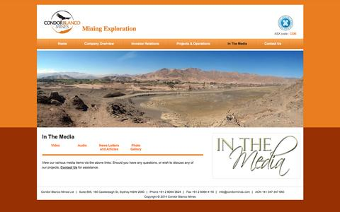 Screenshot of Press Page condormines.com - In The Media | Mining Exploration - captured Jan. 30, 2016