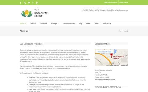 Screenshot of About Page broadleafgroup.com - About Us - The Broadleaf Group - captured Nov. 2, 2014