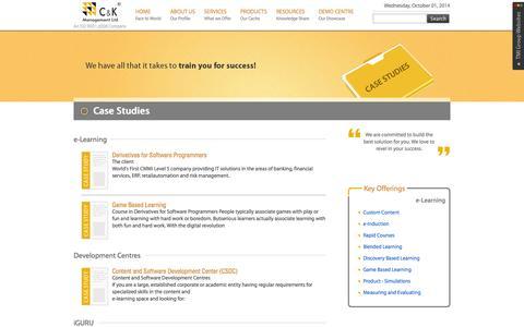 Screenshot of Case Studies Page cnkonline.com - C&K Management Ltd. - captured Oct. 1, 2014