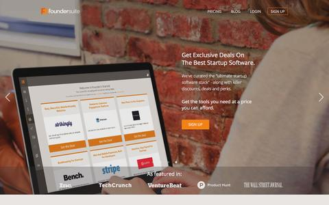 Screenshot of Home Page foundersuite.com - Foundersuite | Startup management software - captured Feb. 23, 2016