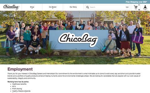 Screenshot of Jobs Page chicobag.com - ChicoBag  | Employment - captured Sept. 23, 2016