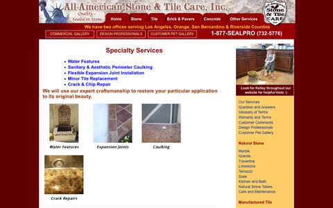 Screenshot of Services Page supersite.com - Specialty Services | All American Stone and Tile Care, Inc. - captured Feb. 5, 2016
