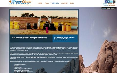 Screenshot of Services Page tcenv.com - Services | TransChem Environmental - captured Nov. 5, 2014