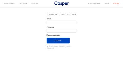 Screenshot of Login Page caspersleep.com - Casper — The Mattress Reimagined - captured July 19, 2014