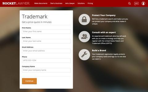 Screenshot of Pricing Page rocketlawyer.com - Trademark Order Form - captured April 29, 2019