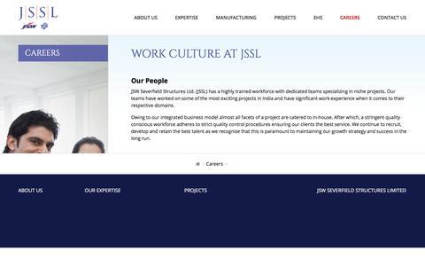 Screenshot of Jobs Page jssl.in - Work Culture At JSSL - captured Oct. 16, 2017