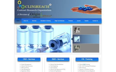 Screenshot of Home Page clinireach.in - .::Welcome to CLINiREACH ® ::. - captured Oct. 2, 2014