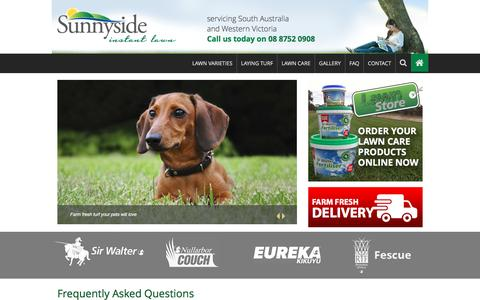 Screenshot of FAQ Page sunnysideinstantlawn.com.au - FAQs - Sunnyside Instant Lawn - captured Feb. 25, 2016
