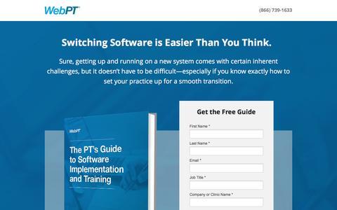 Screenshot of Landing Page webpt.com - WebPT | The PT's Guide to Software Implementation and Training - captured Oct. 30, 2016