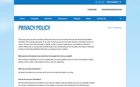 Screenshot of Privacy Page freeportshipservices.com - Privacy Policy Č Freeport Ship Services - captured Jan. 8, 2016