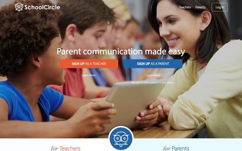 Screenshot of Home Page schoolcircle.com - SchoolCircle makes parent communication easy - captured Dec. 13, 2014