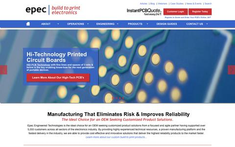 Screenshot of Home Page epectec.com - Manufacturing That Eliminates Risk and Improves Reliability | Epec - captured Jan. 29, 2016