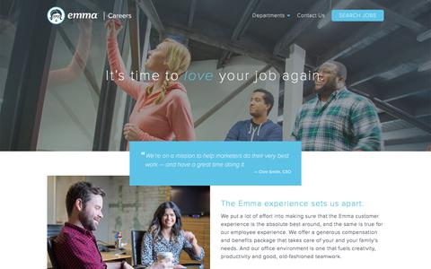 Screenshot of Jobs Page myemma.com - Love your job, work at Emma | Emma Email Marketing - captured Sept. 22, 2017