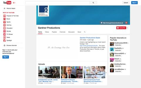 Screenshot of YouTube Page youtube.com - Gardner Productions  - YouTube - captured Oct. 22, 2014