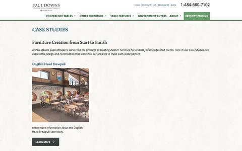 Screenshot of Case Studies Page custom-conference-tables.com - Case Studies | Paul Downs Cabinetmakers - captured July 16, 2017