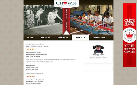 Screenshot of Testimonials Page crownlinen.com - Linen Rental Service Testimonials & Ratings | Crown Linen - captured Oct. 3, 2014
