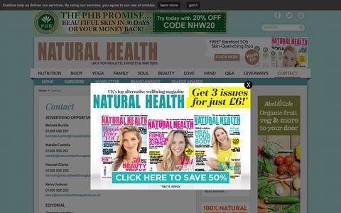 Screenshot of Contact Page naturalhealthmagazine.co.uk - Contact | Natural Health - captured Sept. 23, 2015
