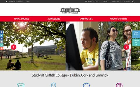 Screenshot of Home Page griffith.ie - Griffith College in Ireland with Colleges in Dublin, Cork & Limerick - captured Sept. 19, 2014
