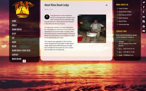 Screenshot of About Page kilwa.co.tz - Kilwa Beach Lodge - your perfect Kilwa safari destination - captured Oct. 6, 2014