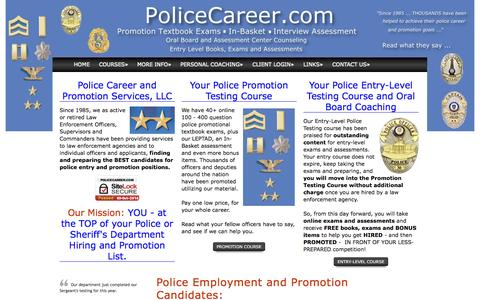 Screenshot of Home Page policecareer.com - Police Sheriff Promotion Entry exams oral board in-basket assessment - captured Oct. 3, 2014