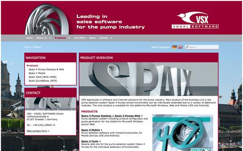 Screenshot of Products Page vsx.de - Product Overview VSX - VOGEL SOFTWARE - captured June 6, 2016