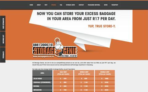 Screenshot of Pricing Page storagegenie.co.za - Storage Pricing | Affordable Rates - Storage Genie - captured Sept. 24, 2014