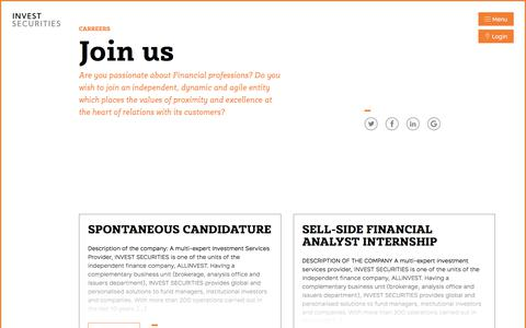 Screenshot of Jobs Page invest-securities.com - Career Archive - Invest Securities - captured Sept. 20, 2018