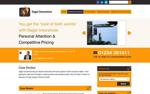 Screenshot of Case Studies Page sagarinsurances.co.uk - Case Studies - Sagar Insurances Sagar Insurances - captured Sept. 30, 2014