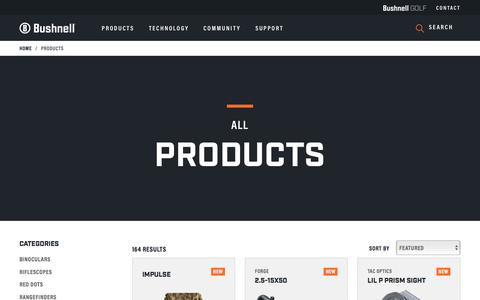Screenshot of Products Page bushnell.com - Bushnell - Products - captured Sept. 20, 2018