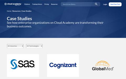 Screenshot of Case Studies Page cloudacademy.com - Case Studies - Cloud Academy - captured Feb. 20, 2020