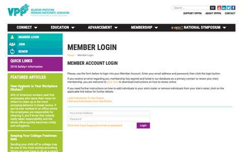 Screenshot of Login Page vpppa.org - Member Login - captured Oct. 19, 2018