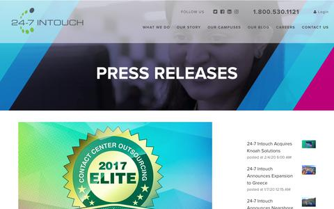 Screenshot of Blog 24-7intouch.com - 24-7 Intouch Wins 2017 Elite Contact Center Outsourcing Award - captured Feb. 23, 2020