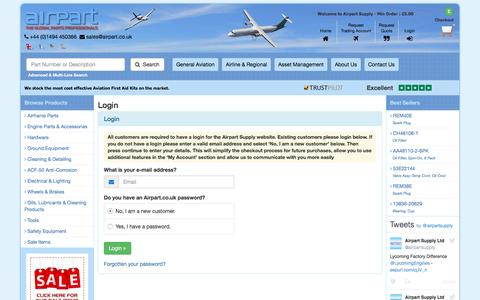 Screenshot of Login Page airpart.co.uk - Airpart Supply Ltd :: International Aircraft Spare Parts Supplier - captured Nov. 20, 2016