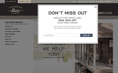 Screenshot of Support Page ghbass.com - Customer Service                                             - G.H. Bass & Co. - captured Jan. 22, 2016