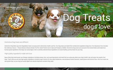 Screenshot of Products Page distinctivedog.com - Products | Distinctive Dog treatsDistinctive Dog treats - captured Oct. 29, 2014