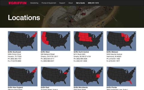Screenshot of Locations Page griffindewatering.com - Locations   Griffin - captured Dec. 14, 2015