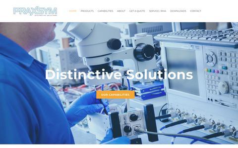 Screenshot of Home Page praxsym.com - Praxsym - Distinctive Solutions - Home - captured Nov. 10, 2018