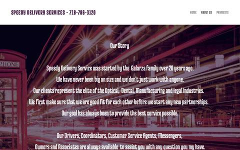 Screenshot of About Page speedydeliveryservices.yolasite.com - Speedy Delivery Services - captured Oct. 2, 2018
