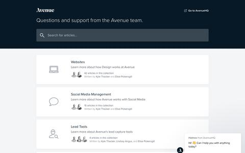 Screenshot of Support Page avenuehq.com - Avenue Support - captured July 2, 2019