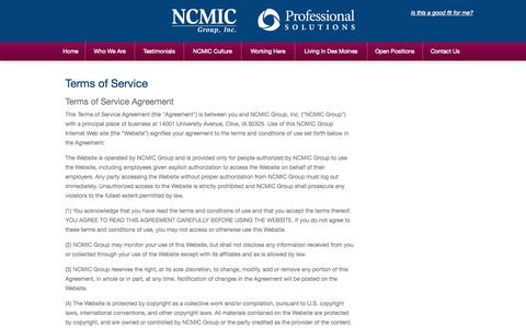 Screenshot of Terms Page ncmicgroup.com - Terms of Service - - captured Oct. 26, 2014