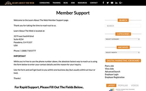 Screenshot of Support Page learnabouttheweb.com - Member Support – Learn About The Web - captured Nov. 4, 2018