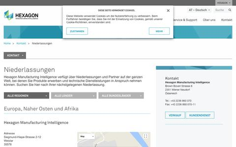 Screenshot of Locations Page hexagonmi.com - Niederlassungen | Hexagon Manufacturing Intelligence - captured Nov. 25, 2017